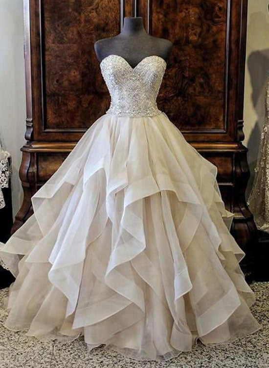 Champagne sweetheart neck tulle long prom gown, formal dress