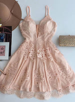 Champagne v neck lace short prom dress, homecoming dress