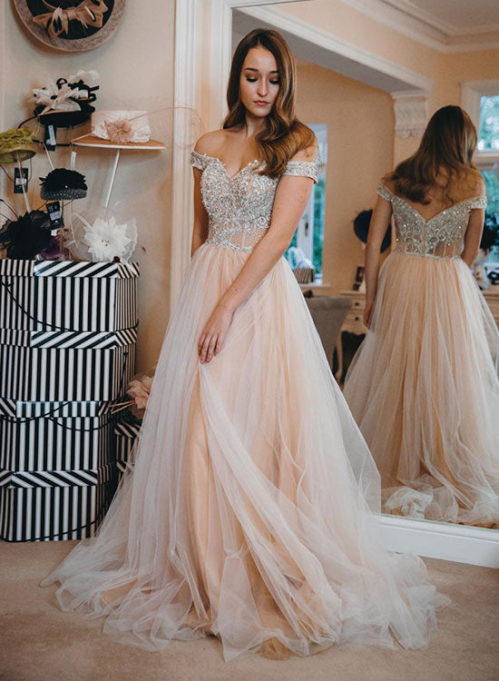 Champagne tulle beads long prom dress, off shoulder evening dress