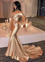 Simple mermaid off shoulder long prom dress, evening dress