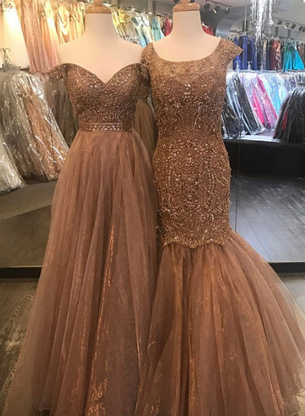 Champagne tulle long prom dress, formal dress