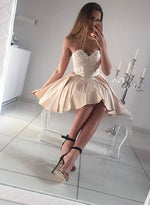 Champagne A line lace applique short prom dress, cute homecoming dress