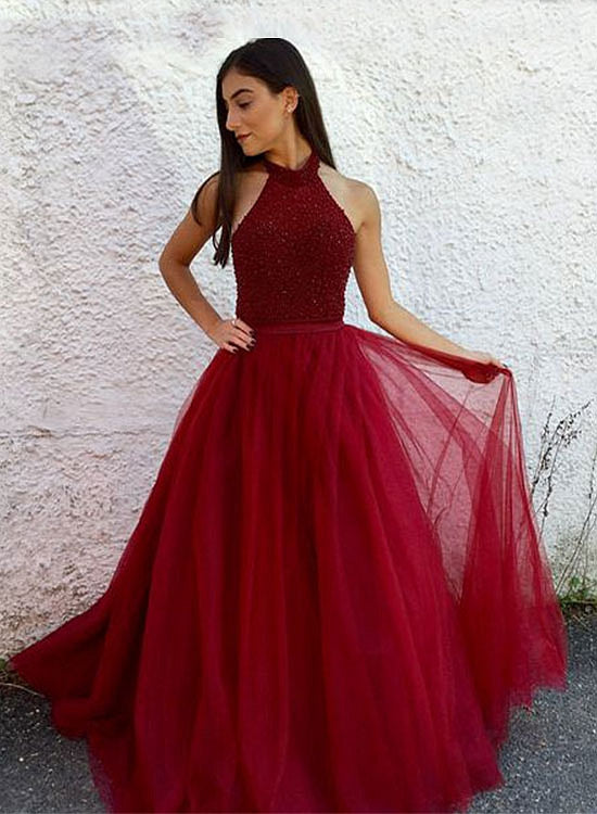 Burgundy beaded tulle long A line prom dress, burgundy evening dress