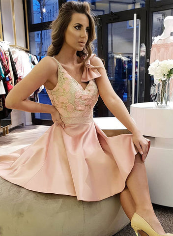 Cute v neck lace short prom dress, pink homecoming dress