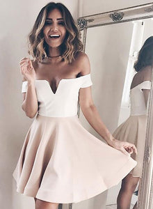 Cute v neck off shoulder short prom dress, homecoming dress