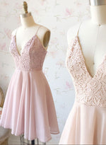 Cute v neck chiffon lace short prom dress, homecoming dress