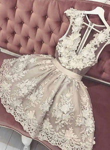 Cute lace v neck short prom dress, homecoming dress