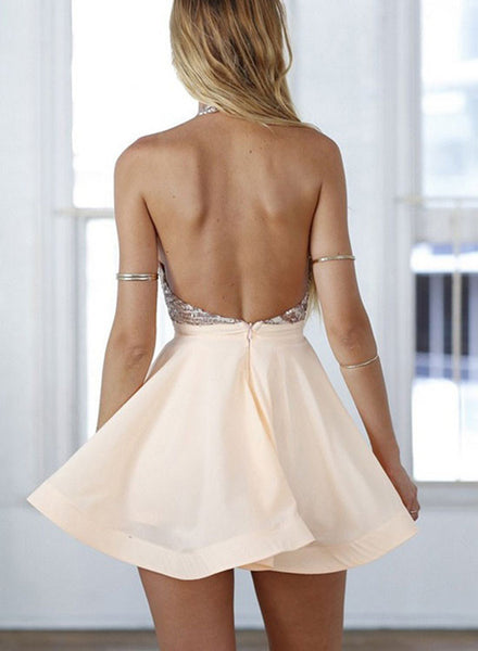 Cute champagne backless short prom dress, homecoming dresses