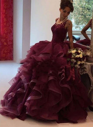 Amazing burgundy lace tulle long prom gown, burgundy evening dress