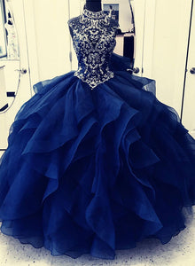 Dark blue round neck beads long prom gown, evening dress