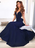 Dark blue v neck long prom dress, mermaid evening dress