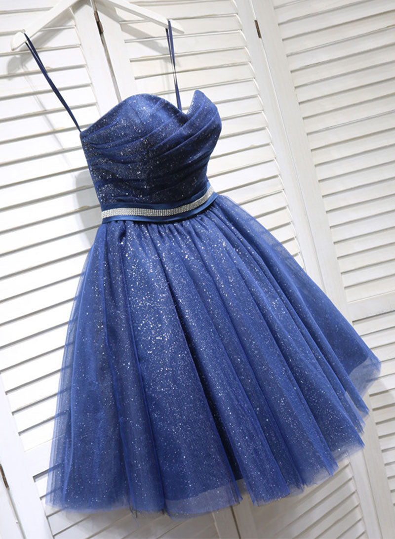 Cute dark blue tulle short prom dress, homecoming dress