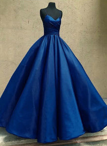 Dark blue v neck satin long prom gown, evening dress