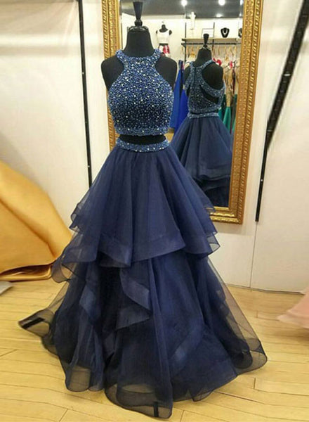 Dark blue two pieces long prom dress, blue evening dress