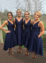 Navy blue v neck prom dress, bridesmaid dress