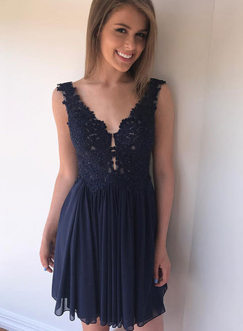 Cute blue lace short prom dress, lace evening dress