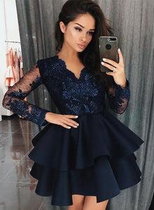 Dark blue lace satin short prom dress, homecoming dress