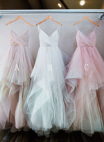 Custom made A line tulle ruffled long prom dresses, evening dresses