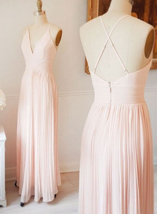 Light pink chiffon long prom dress,pink evening dresses