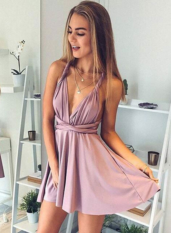 Simple A line v neck short prom dress, homecoming dress
