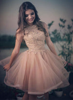 Charming pink lace tulle short prom dress, homecoming dress