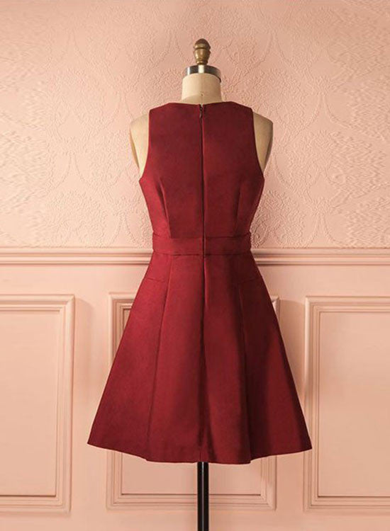 Cute A line burgundy short prom dress, simple homecoming dress
