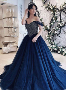 Dark blue tulle beads long prom gown, blue evening dress