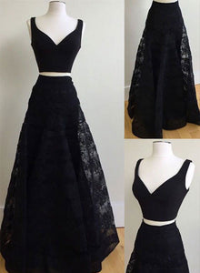 Black two pieces lace long prom dress, formal dress
