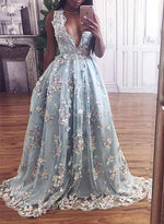 Unique sky blue v neck long prom dress, lace evening dresses