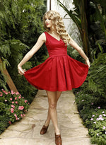 Cute A line red short prom dress, homecoming dress