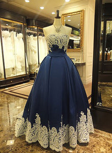 Custom made A line dark blue lace long prom dress, formal dress