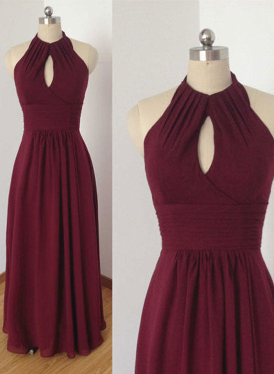 Burgundy chiffon round neck long prom dress, burgundy evening dress