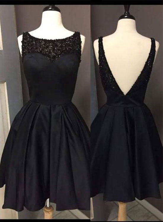 Cute Black A Line Short Prom Dress Black Homecoming Dresses Trendty