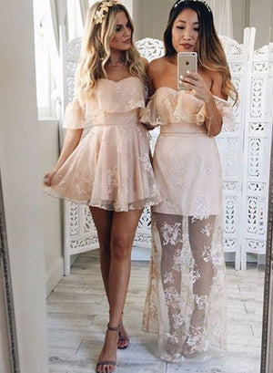 Stylish A line lace tulle prom dress, lace homecoming dress