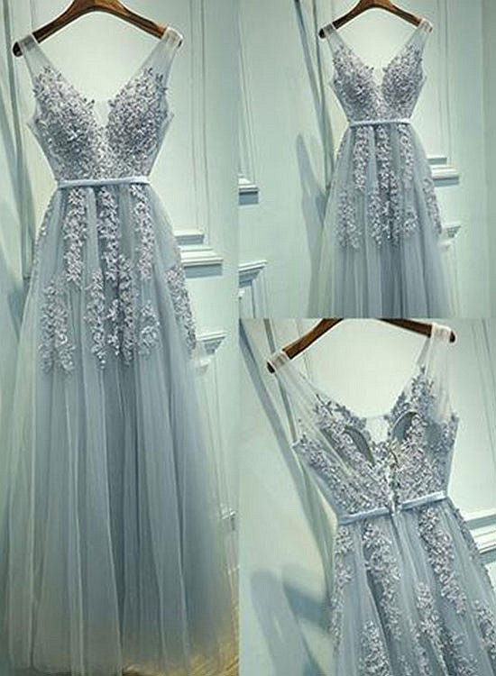 Gray A line v neck lace tulle long prom dress, gray evening dress