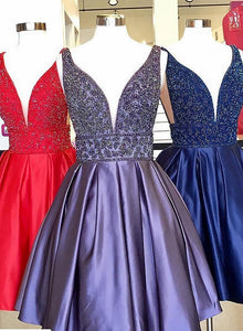 Cute v neck beaded short prom dress, homecoming dress