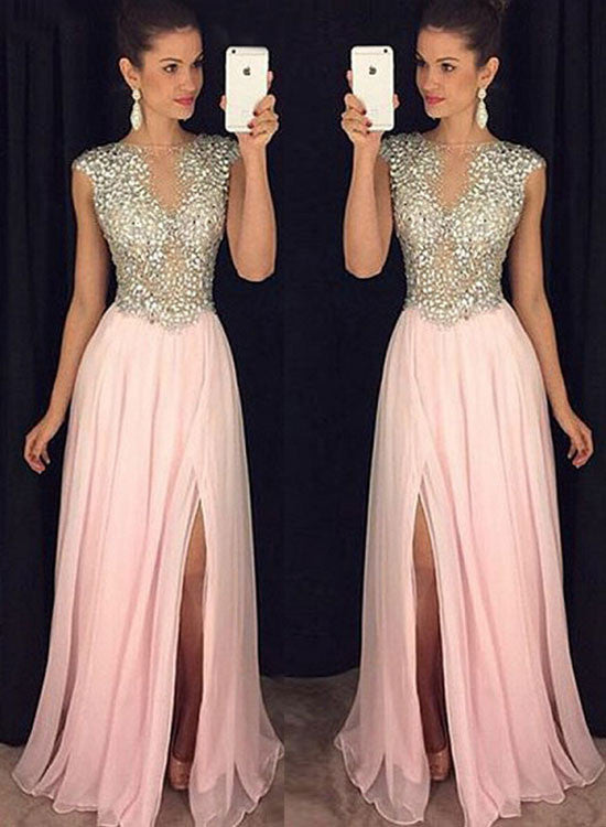 Pink round neck sequins beading long prom dress, pink evening dresses