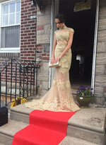 Mermaid gold lace long prom dress, lace evening dress