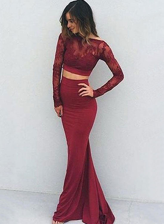 Burgundy lace two pieces long prom dress, long sleeve formal dress ...