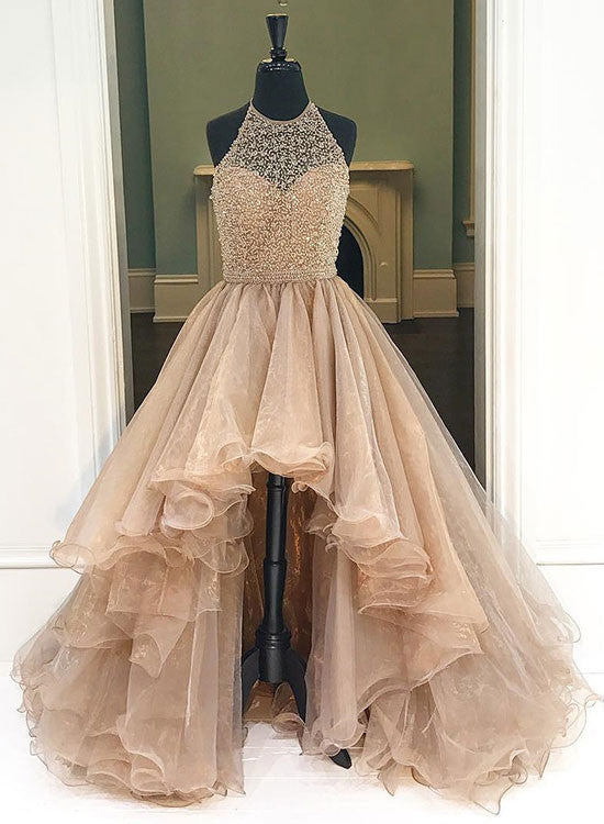 Champagne high-low prom dresses, evening dress