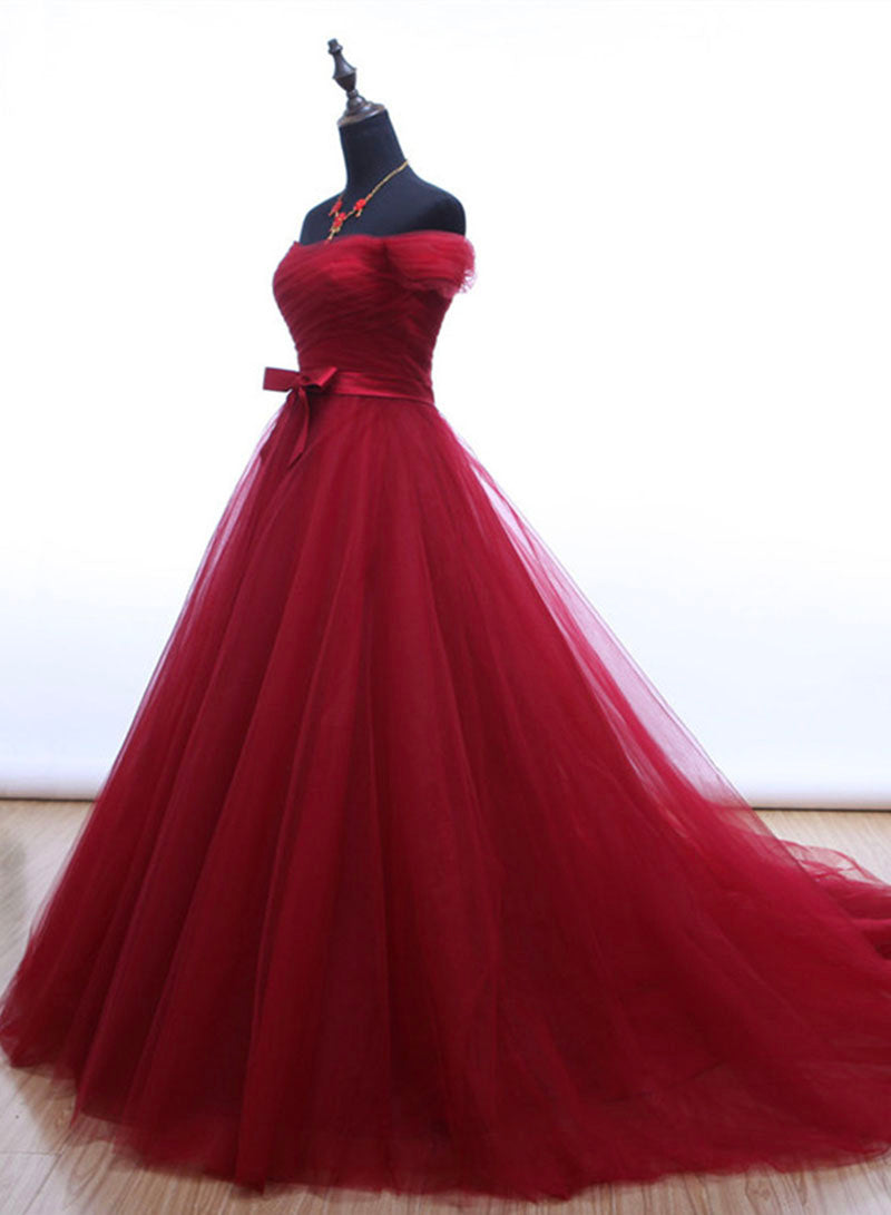Burgundy tulle long prom dress formal dress