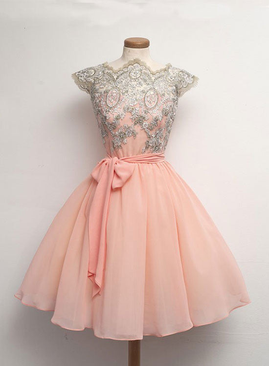 Charming A line chiffon lace short prom dresses, homecoming dresses