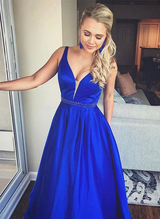 Custom made v neck satin a line long prom gown, formal dress