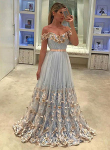 Unique a line tulle light blue long prom dress, tulle evening dress
