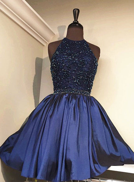 Cute blue A line round neck short prom dress, homecoming dresses
