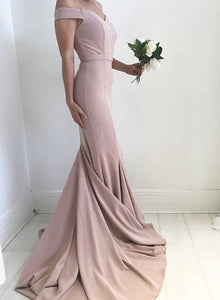 Mermaid pale pink sweetheart neck long prom dress, evening dress