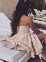 Cute champagne v neck short prom dress, homecoming dresses