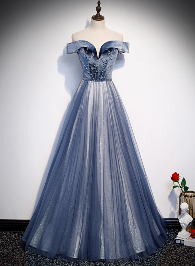 Dark blue velvet tulle long prom dress party dress