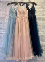 A line v neck tulle lace long prom dress party dress
