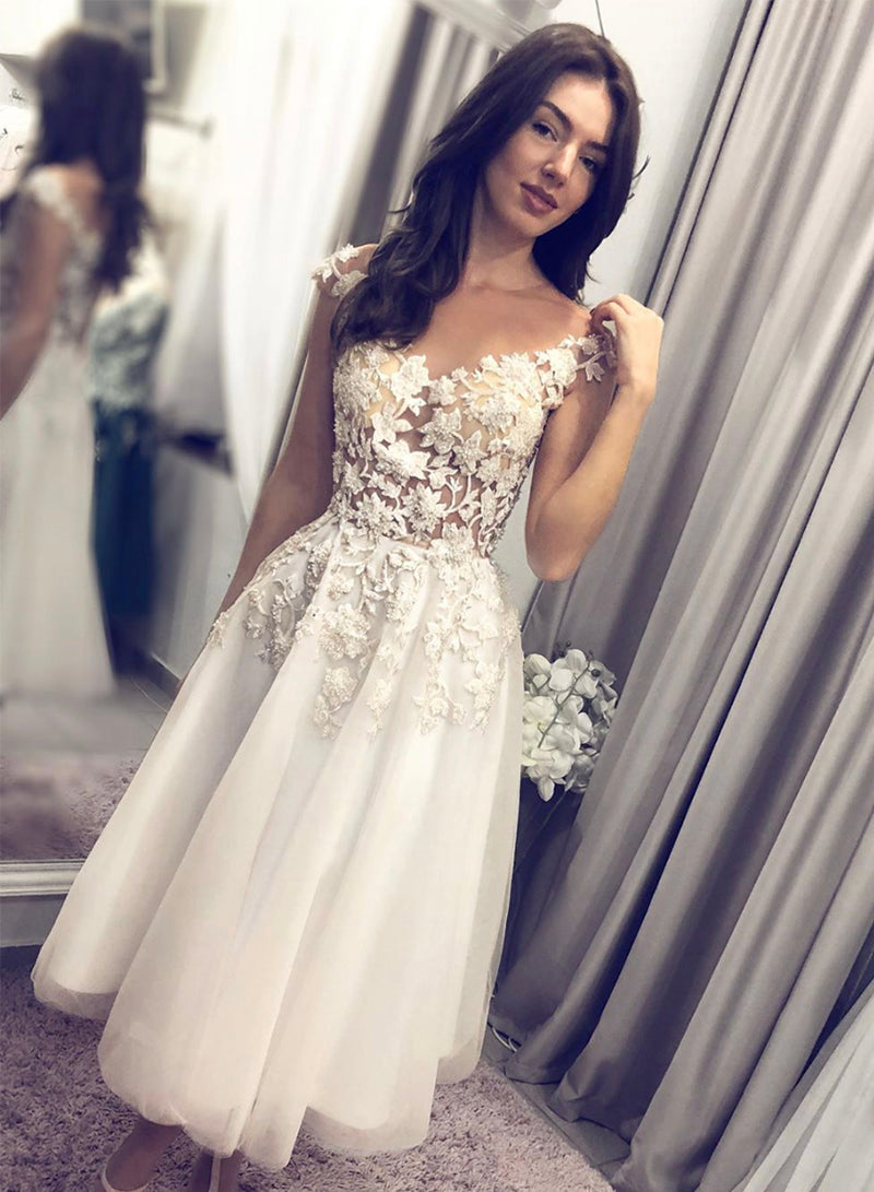 White tulle lace short prom dress homecoming dress